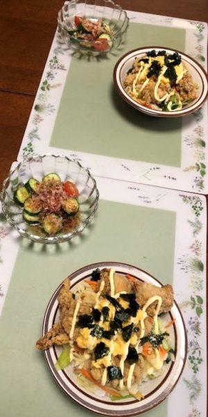 kit Oisix ふわとろたまごのマヨ唐揚げ丼ときゅうりとトマトのさっぱり土佐和え