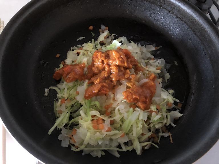 めばると3種野菜のトマトカレー煮