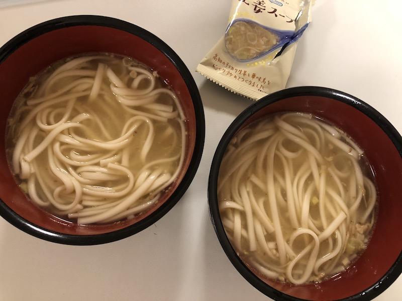 生姜スープにうどん